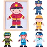 iPlay, iLearn Magnetic Wooden Dolls, Pretend Play Mix & Match It, Fun'n Cool Dress Up, Career Jigsaw Puzzle Toys, Fireman, Fridge Magnets, Educational Gift for 2, 3, 4 Year Olds, Kids, Boys, Girls