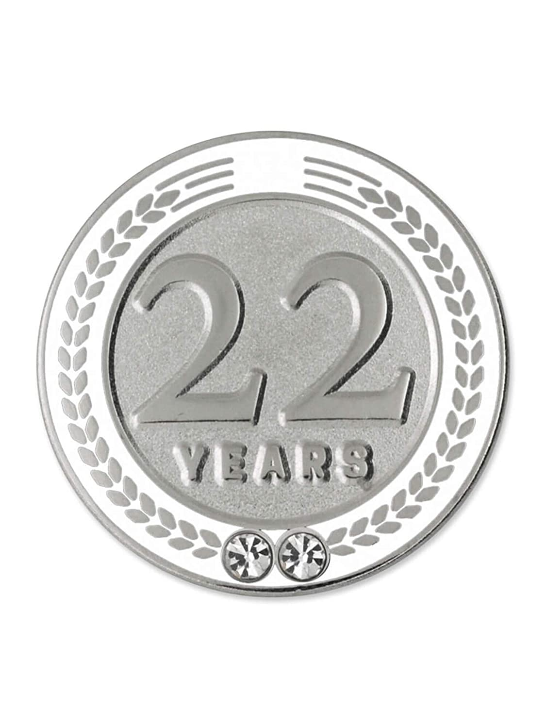 PinMart 22 Years of Service Award Employee Recognition Gift Lapel Pin White