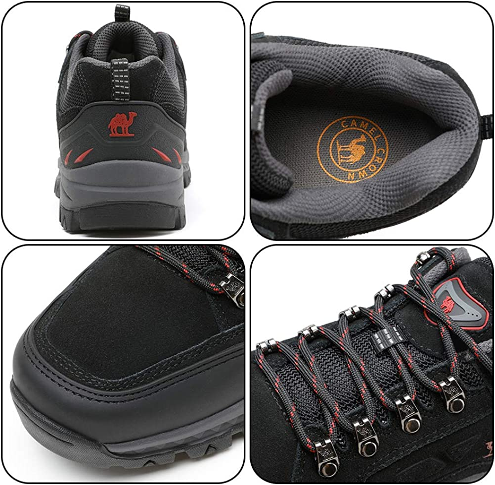 CAMEL CROWN Mens Hiking Shoes Low-Cut Breathable Leather Casual Style Hiking Boots for Outdoors Trekking