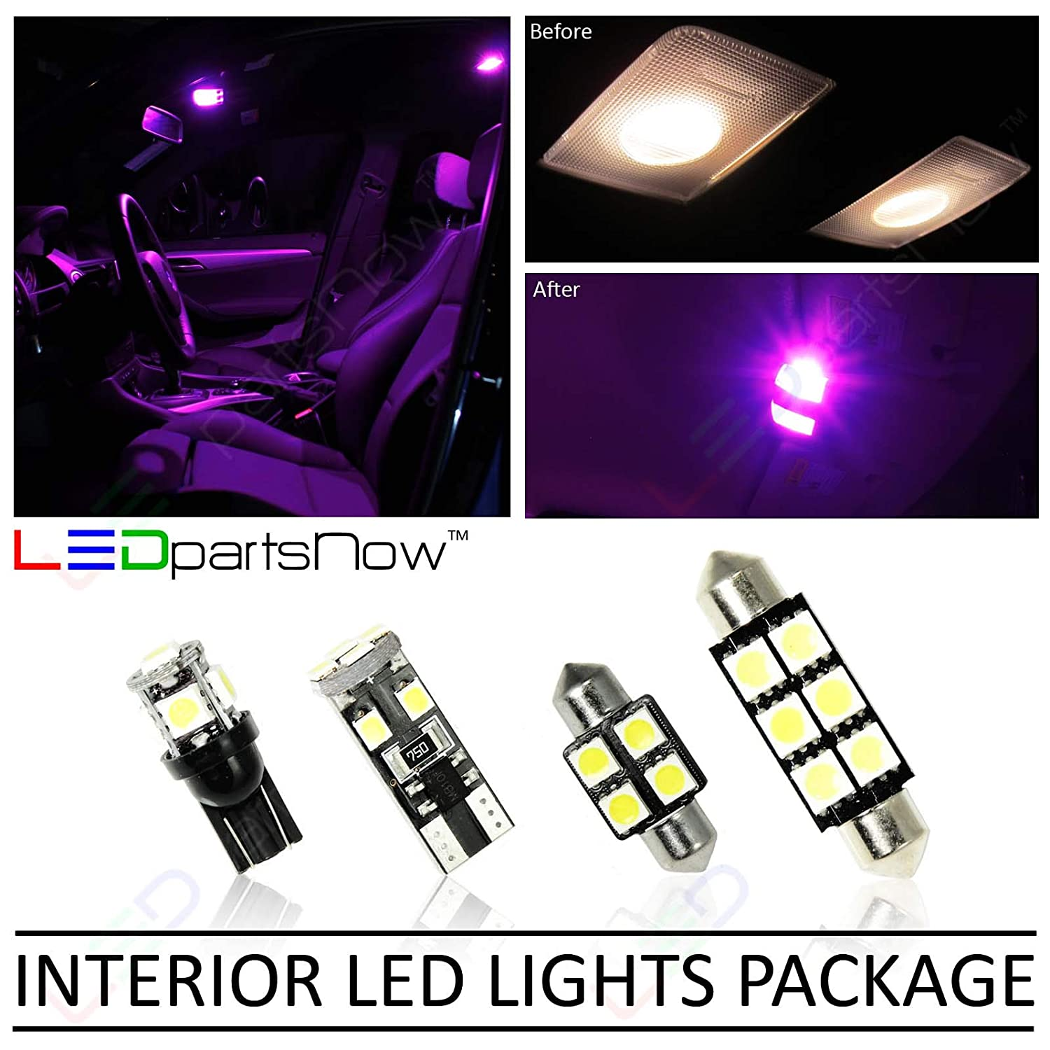 LEDpartsNow Interior LED Lights Replacement for 2015-2018 Dodge Charger Accessories Package Kit (17 Bulbs), FUCHSIA PURPLE