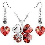 Le Premium® Collier avec pendentif trèfle à Pendants d'oreilles assortis cardiaques effectuées avec SWAROVSKI ® ELEMENTS rouge rubis