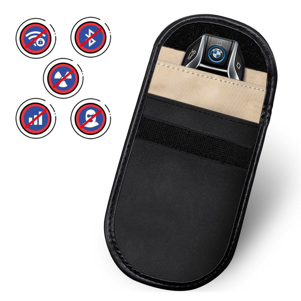 Amteker 2 PACK Car Key Signal Blocker Case, Keyless Entry Fob Guard Signal Blocking Pouch Bag, Antitheft Lock Devices, Pouch Blocking All Signal for All Device Which Can Put In (Black)