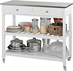 Haotian Bar Serving Cart Home Myra Rustic Mobile Kitchen Serving cart,Industrial Vintage Style Wood Metal Serving Trolley (White)