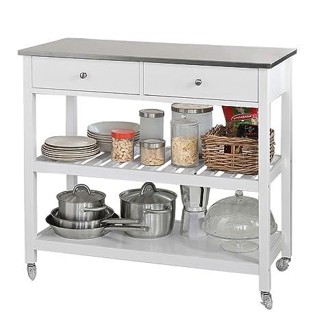SoBuy Carrito de Servir, estantería de Cocina, Carrito de Cocina móvil,FKW47-