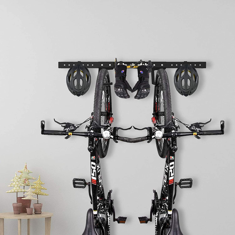 Adjustable /& Movable Qualward Wall Mount Bike Storage Rack Garage Hanger for 2 Bicycles and 2 Helmets