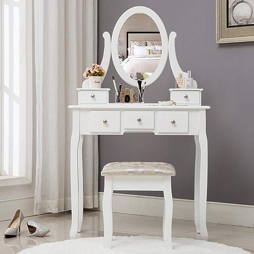HONBAY Juego de mesa de maquillaje, taburete acolchado y organizador de maquillaje sorpresa con espejo ovalado, 5 cajones tocador: Amazon.es: Juguetes y juegos