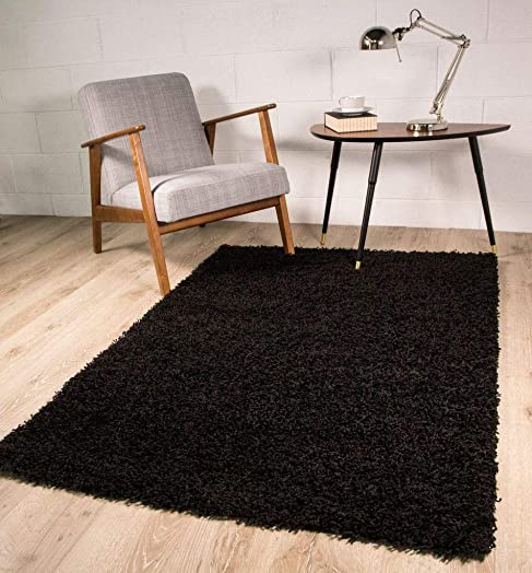 Luxury Super Soft Black Shag Shaggy Living Room Bedroom Area Rug 5'11″ x 8'11″