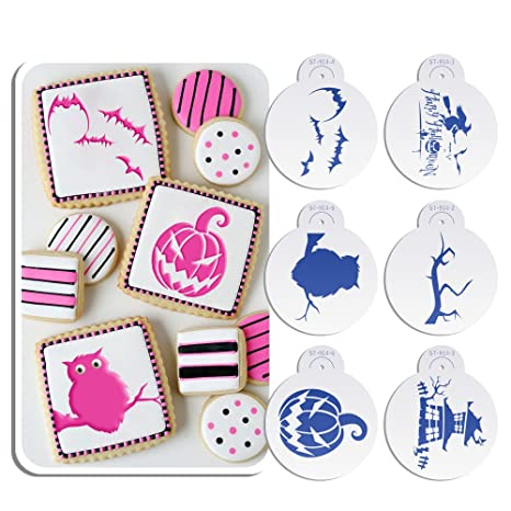 Amazon.com: Arte menaje 6pcs Happy Halloween Cookie Stencil ...