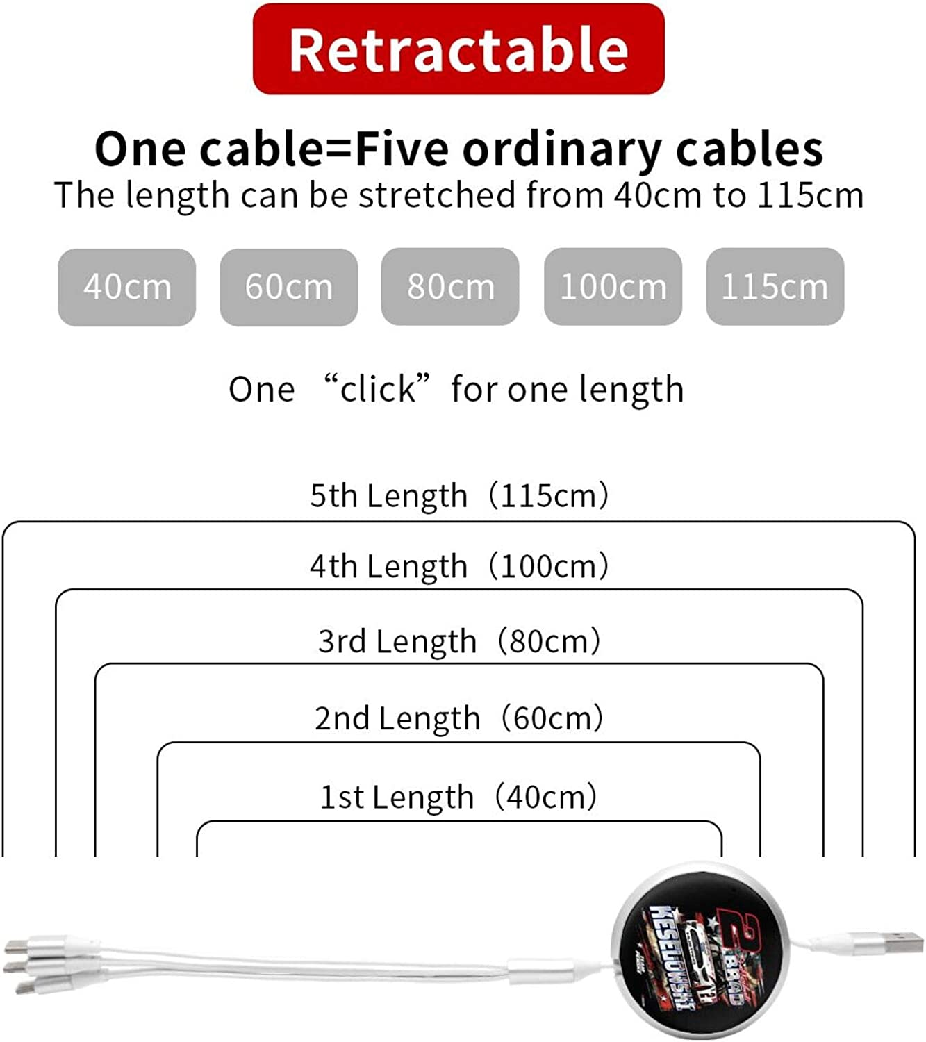 FGHFGHF Brad Keselowski 3 in 1 Charging Cable Multiple Device Phone Connector USB Universal Charger Cord Adapter Compatible with Cell Phone Tablets More