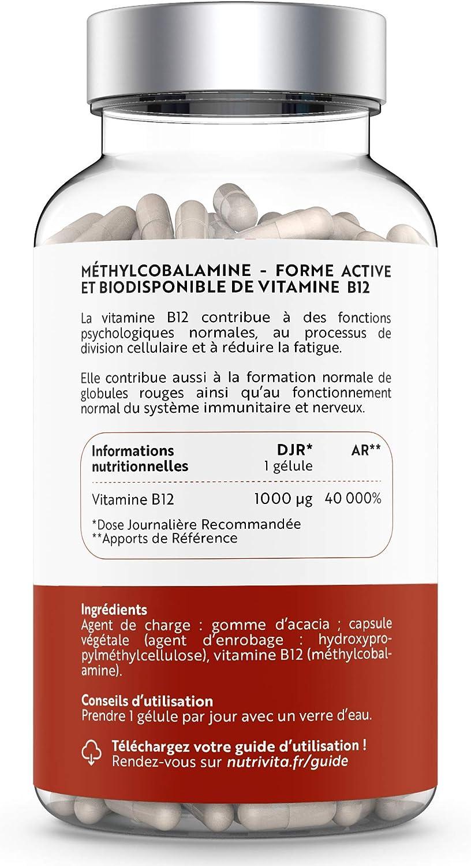 Vitamina B12 1000 μg Metilcobalamina | Alto Dosis y Absorción Óptima | Disminuye el Cansancio y la Fatiga | Suministro Para 4 Meses | 120 cápsulas | ...