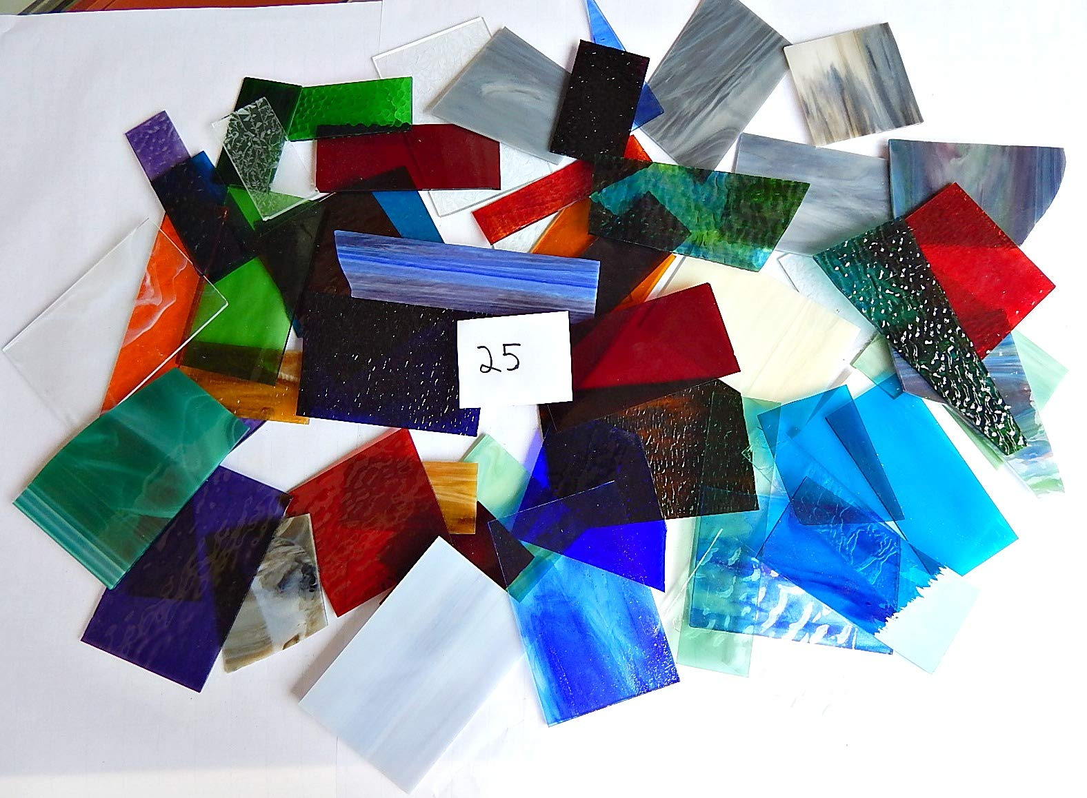 Over 10 LBS Larger Pieces Spectrum Wissmach Stained Glass Mosaic Scrap LOT#25