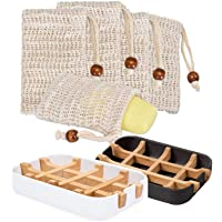 2st tvålfat bambu, Macllar 5st tvålpåsar dragsko för dusch, tvålhållare för badrumshållare