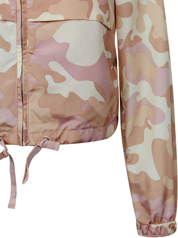 makeitmint Womens Trendy Camouflage Camo Hoodie Zip Up Windbreaker Jacket