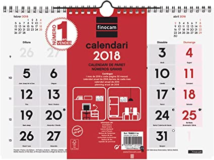 Finocam Neutro - Calendario de pared 2018, números grandes ...