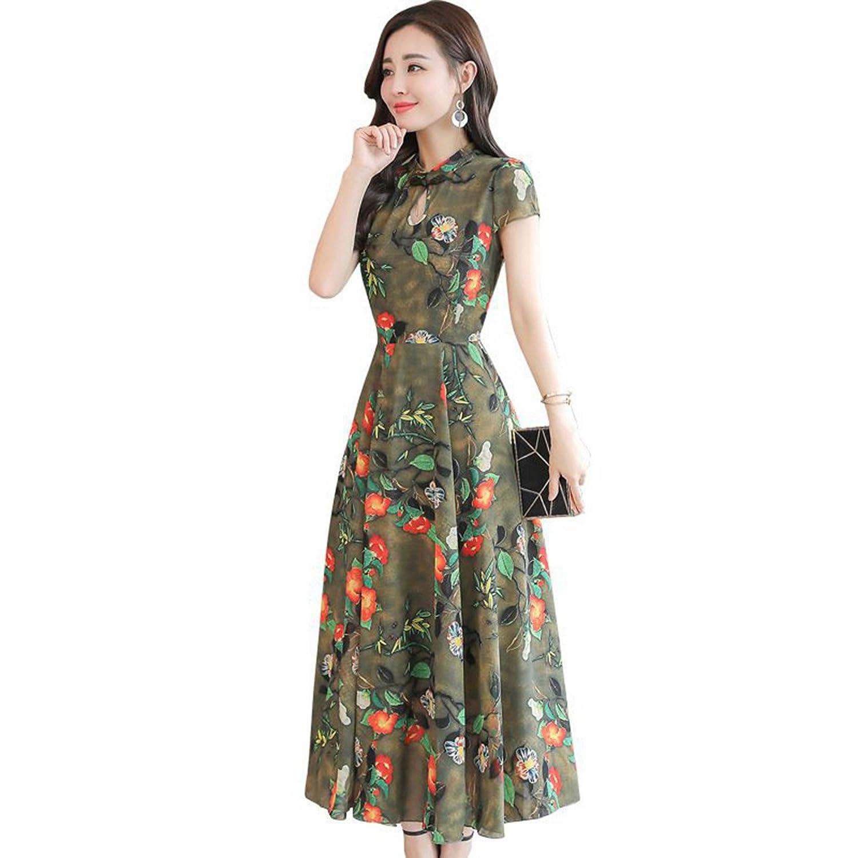JUWOJIA Moda Mujer Ropa De Verano Retro Estilo Étnico Chino Flowers Chiffon Vestido Largo Vestidos Vintage: Amazon.es: Deportes y aire libre