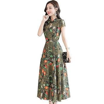 JUWOJIA Moda Mujer Ropa De Verano Retro Estilo Étnico Chino Flowers Chiffon Vestido Largo Vestidos Vintage