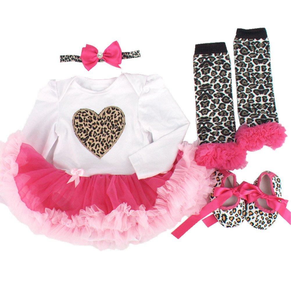 sallyshiny Neugeborene Baby Mädchen Geburtstag Strampler Kleid Tutu Rock Outfit Body Love Herz Kleidung 4-teiliges Set Kopfband Schuhe Beinwärmer