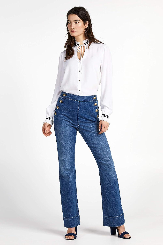 Botones Dorados De Dos Hileras Cintura Alta Steps Maya Denim Azul Denim Pantalones Vaqueros Para Mujer Modelo Expuesto Talla 34 Hasta 46 Vaqueros Ropa