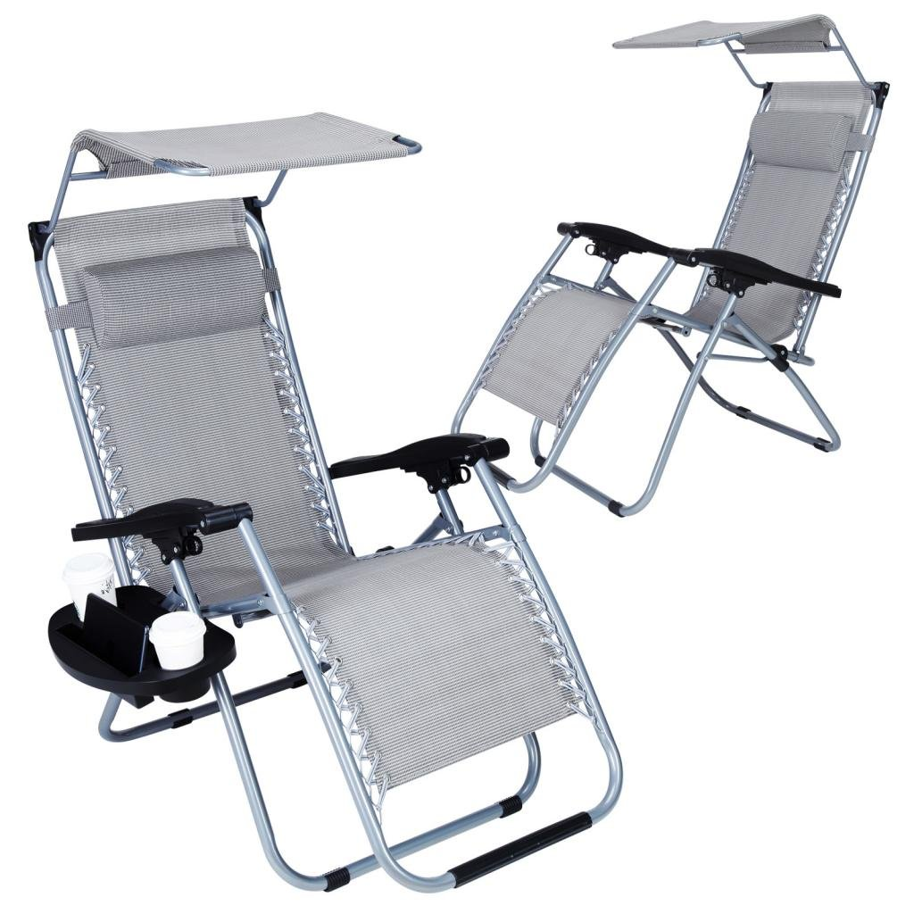 Super Decor Set of 2 Zero Gravity Outdoor Lounge Chairs w/Sunshade + Cup Holder with Mobile Device Slot Adjustable Folding Patio Reclining Chairs W/Canopy+ Snack Tray(Light Grey)