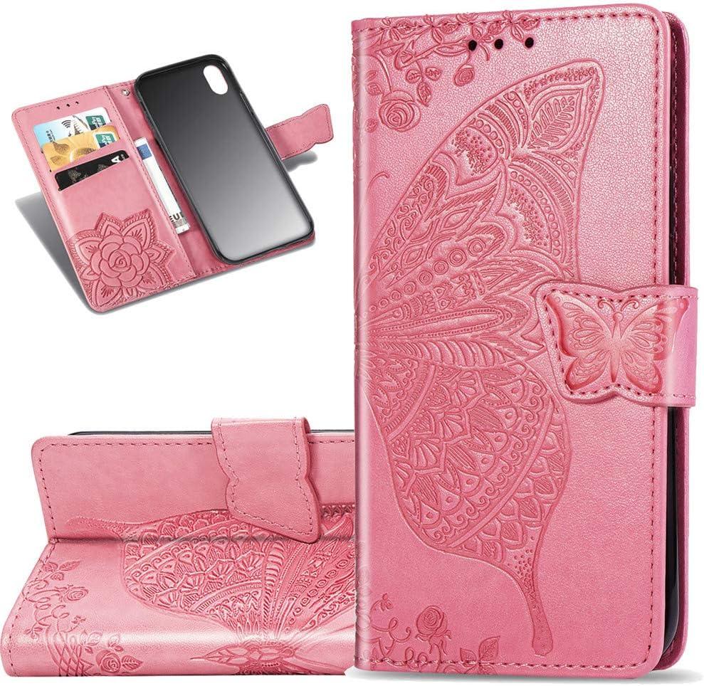 COTDINFOR Xiaomi Redmi 7A Funda Flip Cierre Magnético Billetera Elegante Retro Suave PU Cuero Cover Anti-arañazo Carcasas para Xiaomi Redmi 7A Flower Butterfly Pink SD