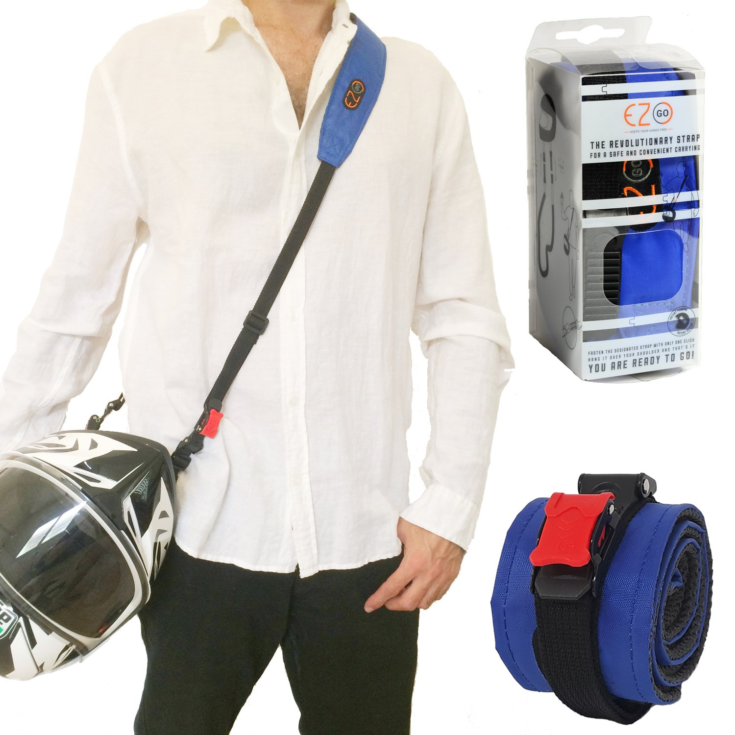 EZ GO Motorcycle Helmet Carrier - Must-Have Motorcycle Accessory, Hands-Free way to Carry Helmet, Biker Carrying Durable Strap L.M Arev LTD