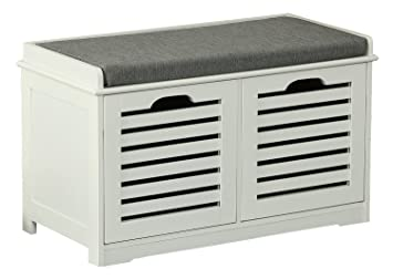 Orolay Storage Bench With 2 Drawers U0026 Seat Cushion Shoe Cabinet White