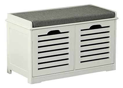 Orolay Storage Bench With 2 Drawers U0026 Seat Cushion Shoe Cabinet ZHXD24 White