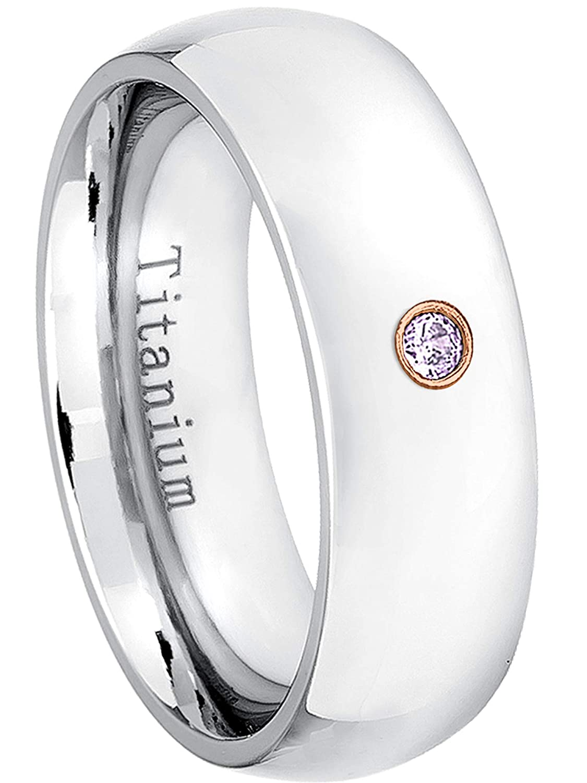 February Birthstone Ring 0.07ct Amethyst Titanium Ring 7MM Comfort Fit Polished Dome White Titanium Wedding Band