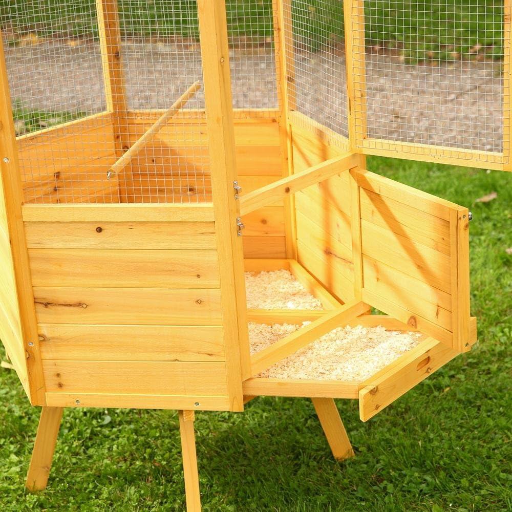 Melko Vogelvoliere XXL 12-Eck Vogelkäfig Vogelhaus aus Holz, 12 x 12 x 12  cm, braun Farbe