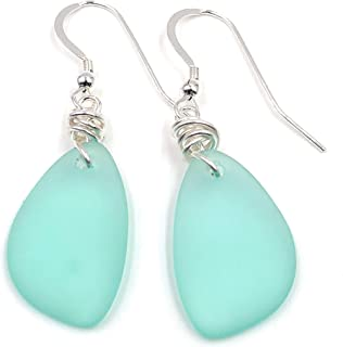 product image for Popular Sea Foam Green Sea Glass Earrings with Charming Handmade Silver Knot on Sterling Silver Hooks, Perfect Gift, by Aimee Tresor Jewelry