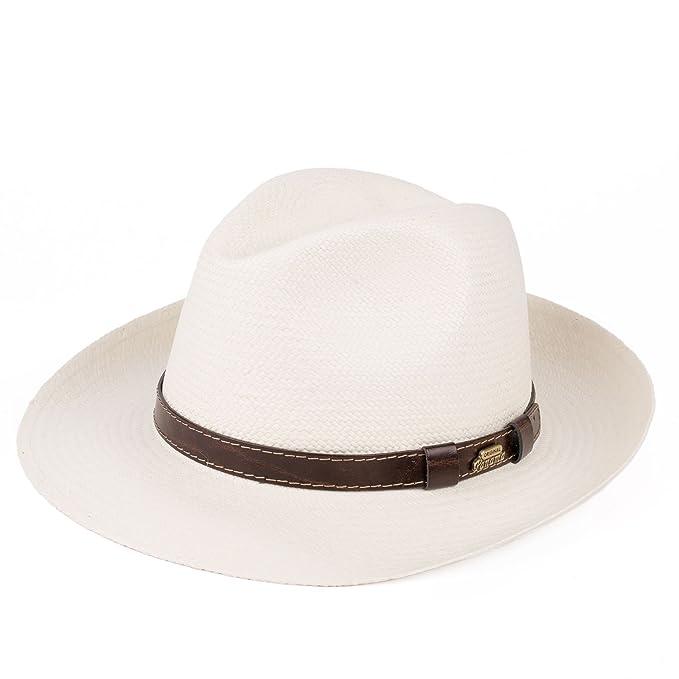 Cappello Fedora stile Panama in Paglia Intrecciata a mano dell Equador con  Banda in Pelle 4fb46b14e05b