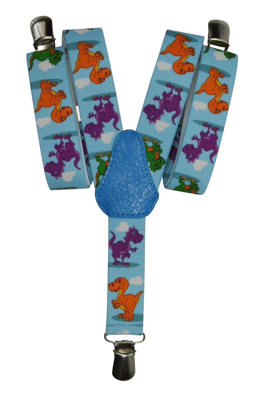 Childrens 1-5 Years Elasticated Clip on Braces / Suspenders with Dinosaur Design 2.5cm - Dark Blue KIDSBRACESJdinosaur-dblue