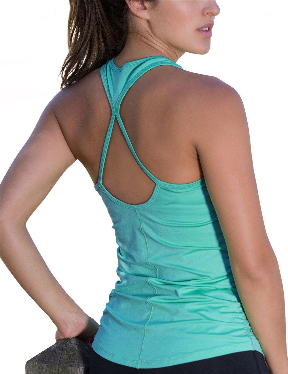 icyzone Workout Yoga Fitness Sports Racerback Tank Tops for Women (S, Florida Keys)