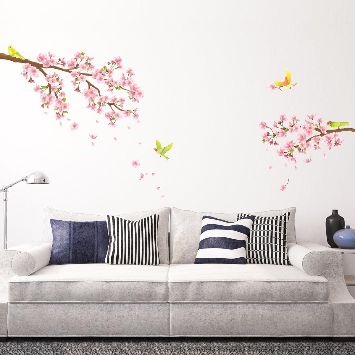 Decowall dw 1303 fiori di ciliegio e uccelli adesivi da parete ...