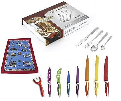 Set 32 Piezas Royalty Line - 24 Piezas Cubiertos de acero inoxidabile + 7 Piezas Cuchillos revistodos con ceràmico y Pelador ceràmico