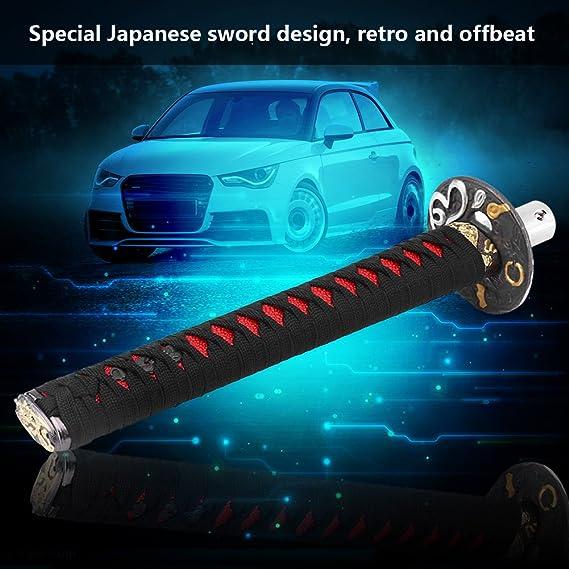 Auto Schaltknauf Schalthebel Universal Schaltknauf Abdeckung Japanese Sword Style Car Schaltknauf Schalthebel Mit 4 Adaptern Schwarz Rot Black Red Auto