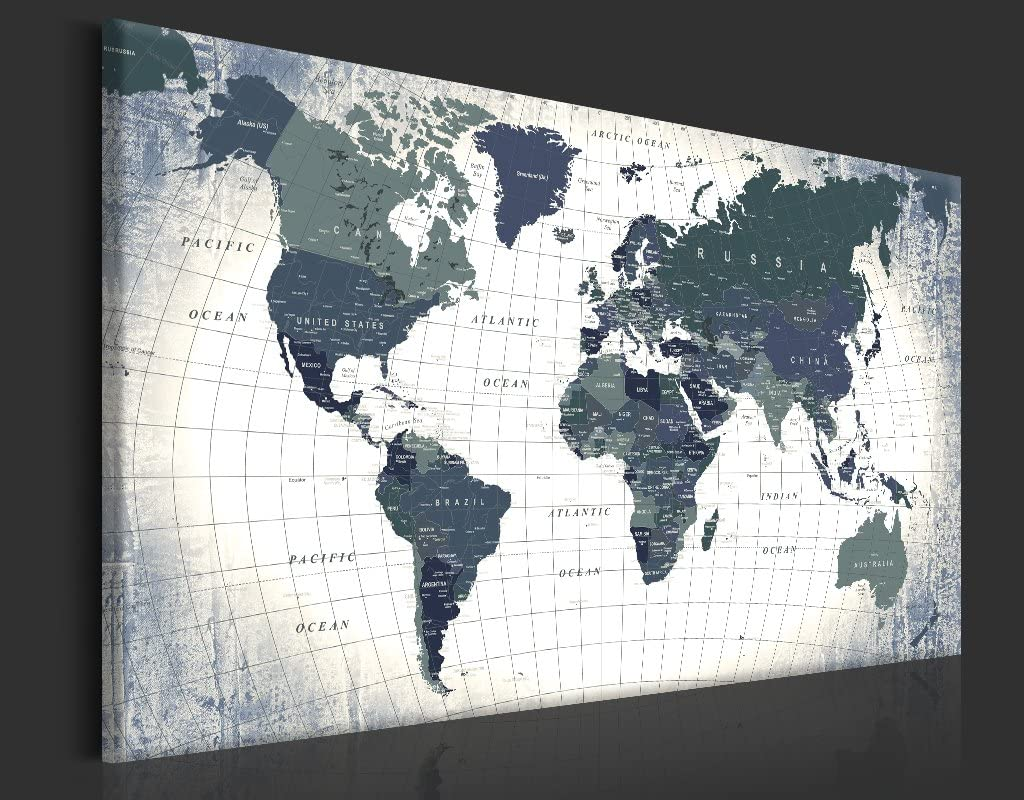 einteilig Bilder Leinwandbild Poster Pinnwand Kunstdruck Weltkarte Karte Welt Landkarte Kontinent k-B-0011-p-b 60x40 cm B/&D XXL Neuheit Weltkarte mit Kork R/ückwand 60x40 cm