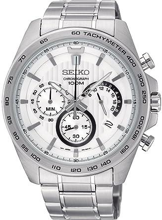 Seiko Reloj Cronógrafo para Hombre de Cuarzo con Correa en Acero Inoxidable SSB297P1: Amazon.es: Relojes