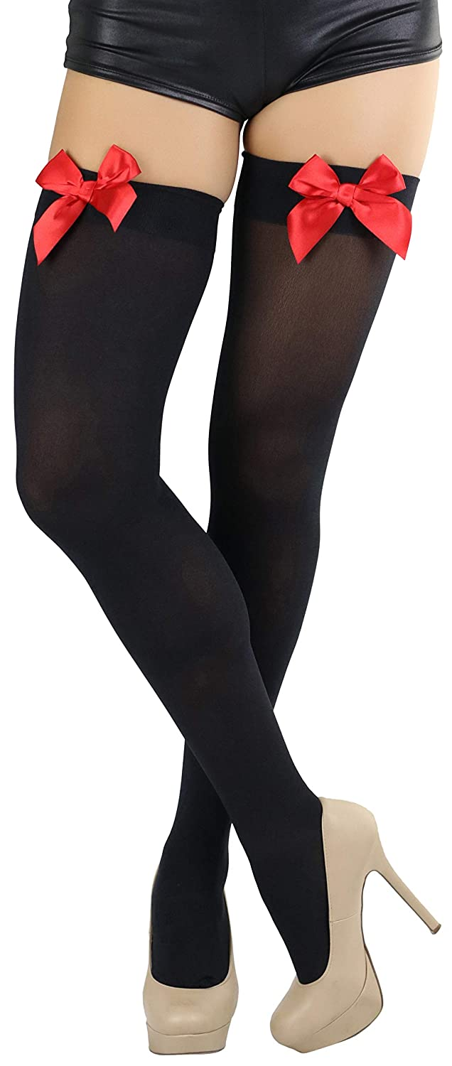 Women's Red Satin Bow Accent Black Thigh-High Stockings - DeluxeAdultCostumes.com