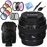 Canon EF 50mm f/1.4 USM Standard + Medium Telephoto Lens with 58mm Filter Sets Plus Accessories Bundle