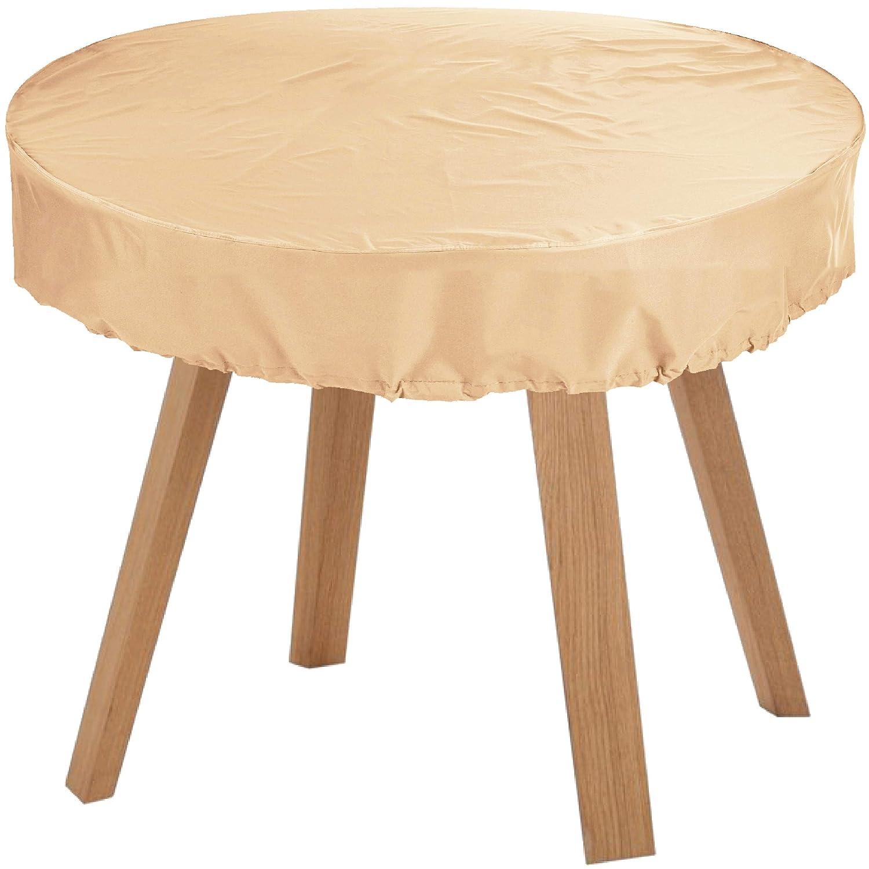 KaufPirat Premium Abdeckplane Rund Ø 150x15 cm Beige Gartenmöbel Gartentisch Abdeckung Schutzhülle Abdeckhaube Outdoor Round Patio Table Cover