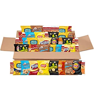Sweet & Salty Snacks Variety Box, Mix of Cookies, Crackers, Chips & Nuts, 50 Count