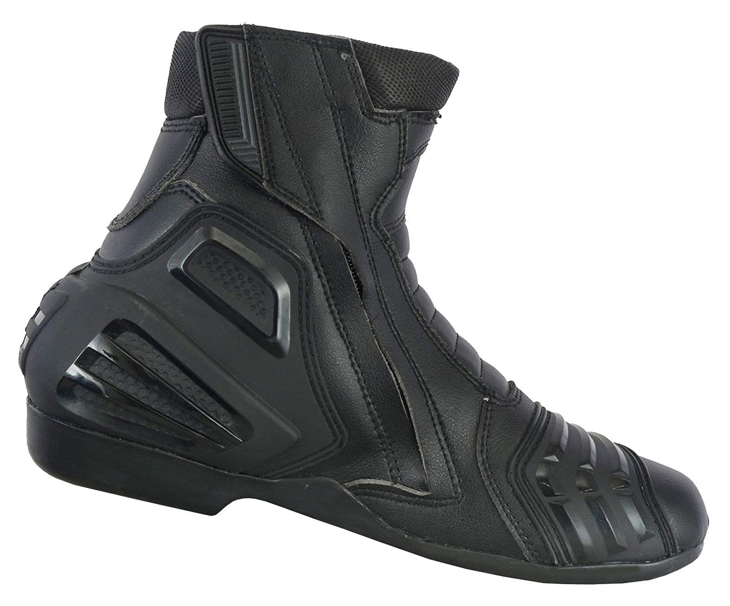 Size UK 11 Black Profirst Global Motorbike Boots Leather Shoes Racing Stylist Ankle Boot Motorcycle Off Road Touring Waterproof Armoured for Mens Boys