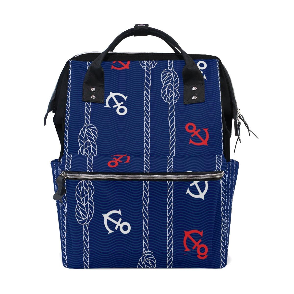 ALIREA Marine Rope And Anchors Diaper Bag Backpack, Large Capacity Muti-Function Travel Backpack