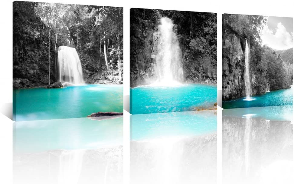 NAN Wind 3pcs 12X12inches Canvas Prints Beautiful Scenery Wall Art Mountain Waterfalls Pictures on Canvas Stretched and Framed Ready to Hang for Home Decor Landscape Poster Wall Decor