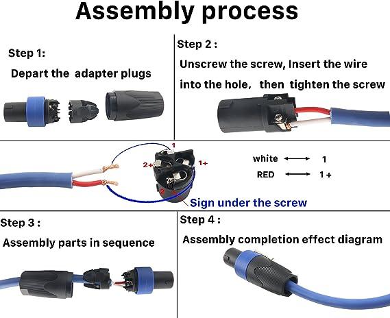Amazon.com: Devinal Professional SpeakOn Speaker Adapter Connectors 4 Pole  Plug Twist Lock Compatible with Neutrik Speakon NA4LJ, NA4LJX, NL4MP,  NL4MPR, NL4FC, NL4FX, NL4 & NL2 Series, NL2FC, Speak-On- 4 Pack: Industrial  &   Speakon Connector Wiring Diagram      Amazon