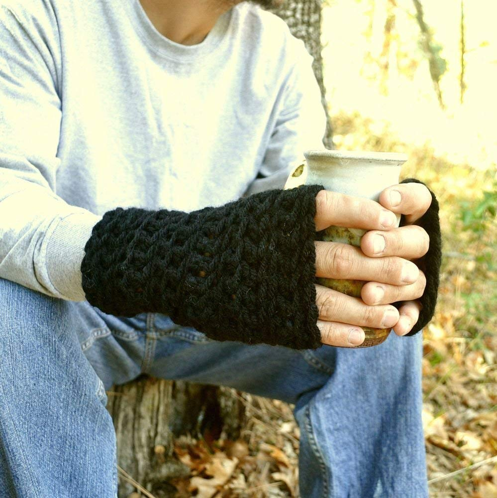 Crochet Fingerless Gloves Winter Hand Warmers Wool Blend