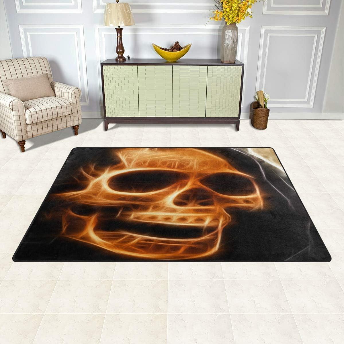 Naanle Fire Skull Non Slip Area Rug for Living Dinning Room Bedroom Kitchen 20 x 31 Inches // 50 x 80 cm Halloween Skull Nursery Rug Floor Carpet Yoga Mat 1.7  x 2.6