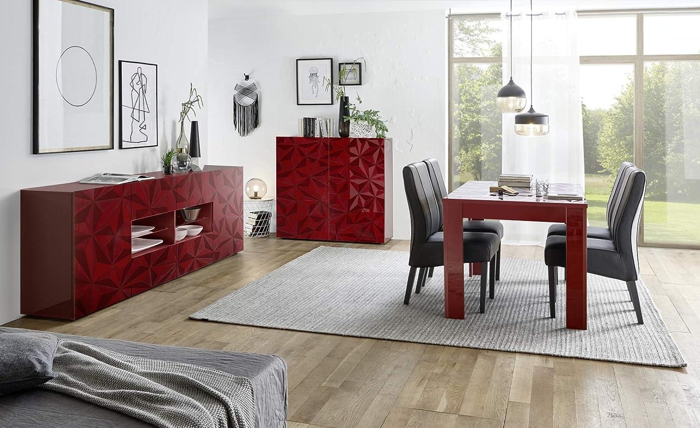 Arredocasagmb.it Mobile credenza Contenitore 2 Ante Moderno Rosso Lucido Anta con Serigrafia Soggiorno Madia Buffet con sportelli Design PRISMO 04