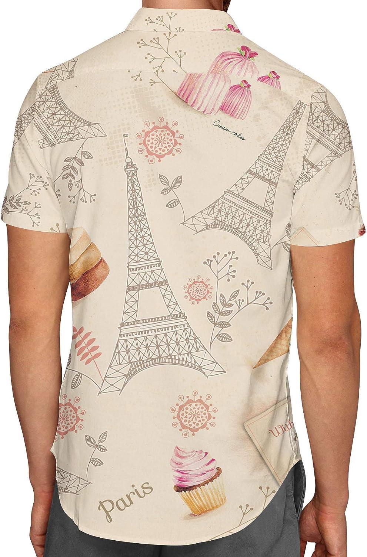 Love from Paris Mens Button Down Short Sleeve Shirt